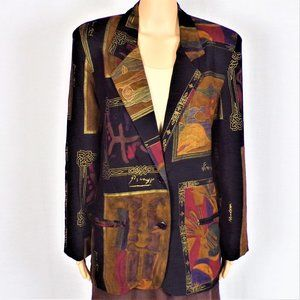 Blazer silk-like black/brown/others art theme